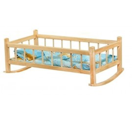 Medinė supama lovytė lėlei su patalais