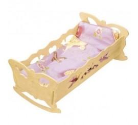 Raižyta medinė lovytė - sūpuoklė su pataliukais